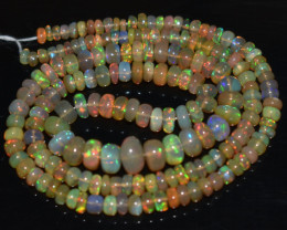 42.25 Ct Natural Ethiopian Welo Opal Beads Play Of Color OB836