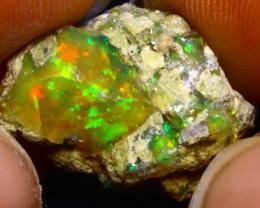 10.11Ct Multi Color Play Ethiopian Welo Opal Rough F1715