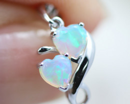 Gem Quality Double Heart 9K White Gold Opal Pendant - OPJ 2284