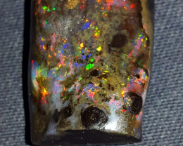38.00 CRT RIBBON PIN FIRE PLAY COLOR INDONESIAN OPAL WOOD FOSSIL