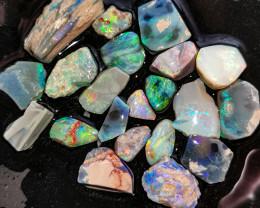 Rough Opal Lot 110.90 cts 21 pcs Black Opals Lightning Ridge BORC091219