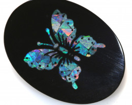 13.25-CTS BEAUTIFUL MOSAIC  BUTTERFLY OPAL INLAY   LO-5657