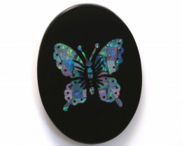 13.55-CTS BEAUTIFUL MOSAIC  BUTTERFLY OPAL INLAY   LO-5659