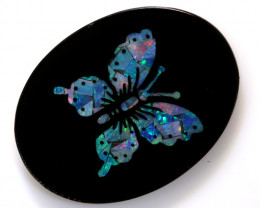 13.80-CTS BEAUTIFUL MOSAIC  BUTTERFLY OPAL INLAY   LO-5660
