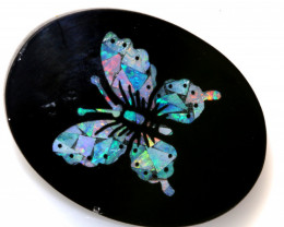 14.05-CTS BEAUTIFUL MOSAIC  BUTTERFLY OPAL INLAY   LO-5661