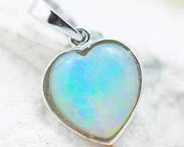 Gem Quality Heart 10K White Gold Opal Pendant - OPJ 2641
