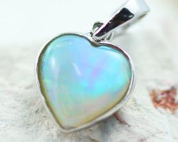 Gem Quality Heart 10K White Gold Opal Pendant - OPJ 2642