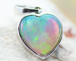 Gem Quality Heart 10K White Gold Opal Pendant - OPJ 2643