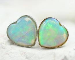 Gem Quality Heart 10K White Gold Opal Earrings - OPJ 2646