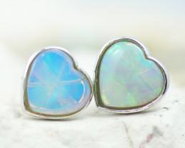 Gem Quality Heart 10K White Gold Opal Earrings - OPJ 2647