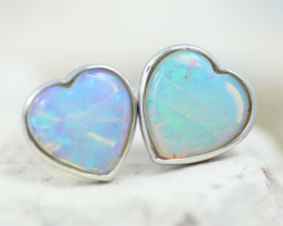 Gem Quality Heart 10K White Gold Opal Earrings - OPJ 2652