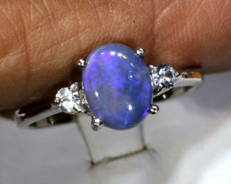 16.10- CTS  BLACK OPAL -SAPPHIRE  SILVER RING OF-2663