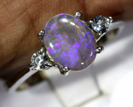 15.70- CTS  BLACK OPAL -SAPPHIRE  SILVER RING OF-2668