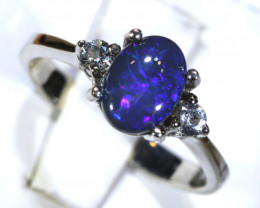13.40- CTS  BLACK OPAL -SAPPHIRE  SILVER RING OF-2672