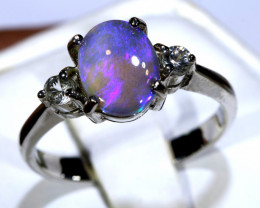 14.13- CTS  BLACK OPAL -SAPPHIRE  SILVER RING OF-2673