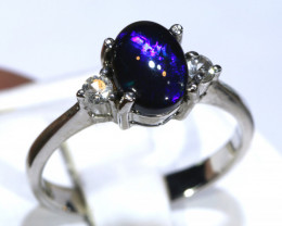 12.73- CTS   N1 BLACK OPAL -SAPPHIRE  SILVER RING OF-2674