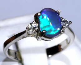 13.29- CTS  BLACK OPAL -SAPPHIRE  SILVER RING OF-2679