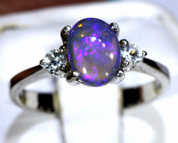 13.10 - CTS  BLACK OPAL -SAPPHIRE  SILVER RING  SIZE 6.75 OF-2680