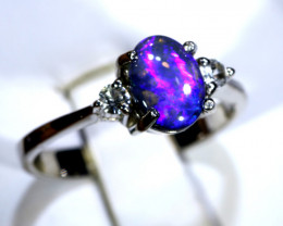 12.63 - CTS  BLACK OPAL -SAPPHIRE  SILVER RING OF-2681