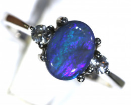 13- CTS  BLACK OPAL -SAPPHIRE  SILVER RING OF-2682