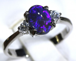 13.67- CTS  BLACK OPAL -SAPPHIRE  SILVER RING OF-2685