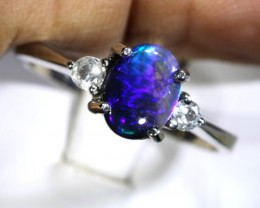 13.50 - CTS  BLACK OPAL -SAPPHIRE  SILVER RING OF-2686