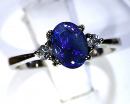 14.23- CTS  BLACK OPAL -SAPPHIRE  SILVER RING OF-2688