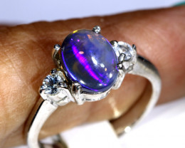 15- CTS  BLACK OPAL -SAPPHIRE  SILVER RING OF-2690