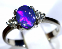12.46- CTS  BLACK OPAL -SAPPHIRE  SILVER RING OF-2692