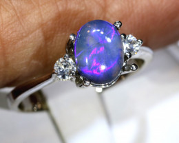 12.80- CTS  BLACK OPAL -SAPPHIRE  SILVER RING OF-2693