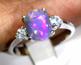 14.50- CTS  BLACK OPAL -SAPPHIRE  SILVER RING OF-2694
