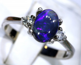 13.21- CTS  BLACK OPAL -SAPPHIRE  SILVER RING OF-2696