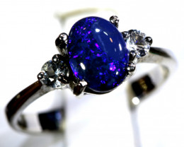 12.94- CTS  BLACK OPAL -SAPPHIRE  SILVER RING OF-2700