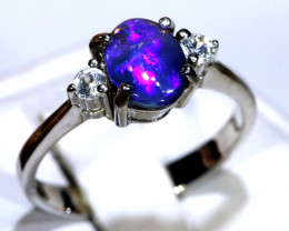 12.70- CTS  BLACK OPAL -SAPPHIRE  SILVER RING OF-2701