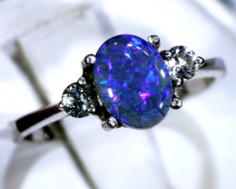 12.77- CTS  BLACK OPAL -SAPPHIRE  SILVER RING OF-2702