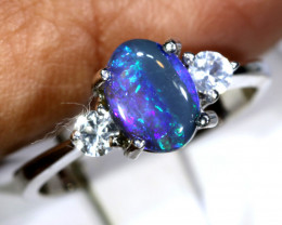 13- CTS  BLACK OPAL -SAPPHIRE  SILVER RING OF-2703