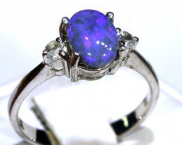 12.87- CTS  BLACK OPAL -SAPPHIRE  SILVER RING OF-2705