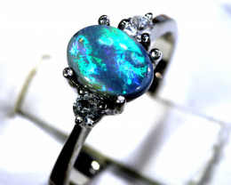 13- CTS  BLACK OPAL -SAPPHIRE  SILVER RING OF-2706