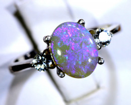 14.70- CTS  BLACK OPAL -SAPPHIRE  SILVER RING OF-2709