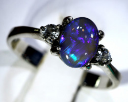 12.5- CTS  BLACK OPAL -SAPPHIRE  SILVER RING OF-2710