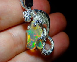 55.6ct. Sterling Silver .925 Dragon Pendant