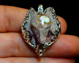 70ct. Sterling Silver .925 Wolf Pendant