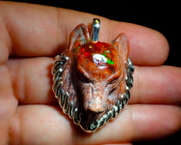 80ct. Sterling Silver .925 Wolf Pendant