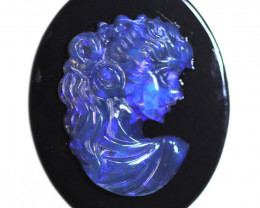 9.71 CTS CAMEO CARVING WITH OPAL -HAND CARVED [SEDA2949]