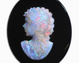 18.87 CTS CAMEO CARVING WITH OPAL -HAND CARVED [SEDA2952]