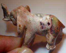 90ct Elephant Figurine Mexican Cantera Fire Opal