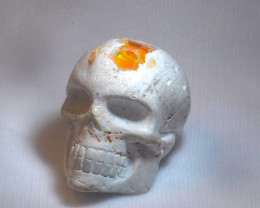 300ct. Skull Mexican Cantera Fire Opal Figurine