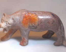 300ct. Jaguar Mexican Cantera Fire Opal Figurine