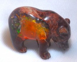 200ct. Bear Mexican Cantera Fire Opal Figurine