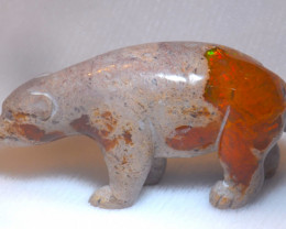 150ct. Bear Mexican Cantera Fire Opal Figurine